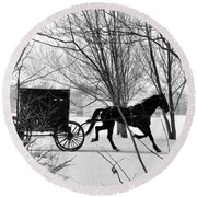 Amish Buggy Revised Round Beach Towel