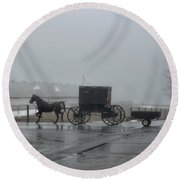 Amish  Buggy Winter Day Round Beach Towel