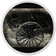 Amish Cart Wheels Grunge Round Beach Towel