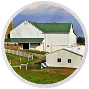 Amish Country Barn Round Beach Towel by Frozen in Time Fine Art Photography