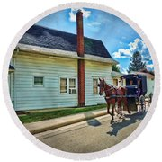 Amish Country Ride Round Beach Towel