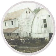Amish Dairy Round Beach Towel