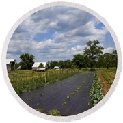 Amish Farm And Garden Round Beach Towel
