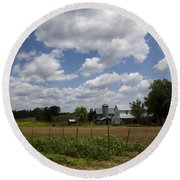 Amish Farm Landscape Round Beach Towel