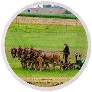 Amish Farmer Round Beach Towel by Guy Whiteley