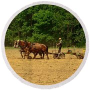 Amish Farmer Tilling The Fields Round Beach Towel