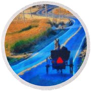 Amish Horse And Buggy In Autumn Round Beach Towel
