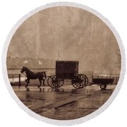 Amish Horse And Buggy With Wagon Bw Round Beach Towel