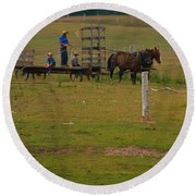 Amish Man And Two Sons On The Farm Round Beach Towel