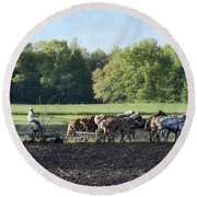 Amish Plowing Field Round Beach Towel