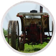 Amish Tractor Round Beach Towel