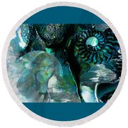 Ammonite Seascape Round Beach Towel