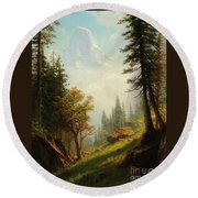 Among The Bernese Alps Round Beach Towel