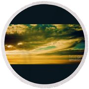 Among The Clouds I Round Beach Towel