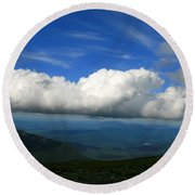 Among Clouds  Round Beach Towel