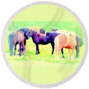 A Horse Most Of All Wanna Be One Among The Other Horses Round Beach Towel