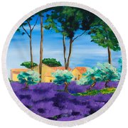 Among The Lavender Round Beach Towel