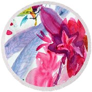 Among The Peonies Round Beach Towel