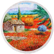 Among The Poppies Round Beach Towel