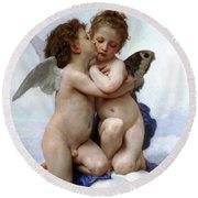 Amor And Psyche  Round Beach Towel