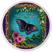 Amore - Butterfly Version Round Beach Towel