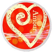 Amour Round Beach Towel