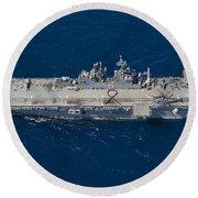 Amphibious Assault Ship Uss Bonhomme Round Beach Towel