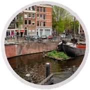 Amstel River Waterfront In Amsterdam Round Beach Towel