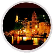 Amsterdam At Night Four Round Beach Towel
