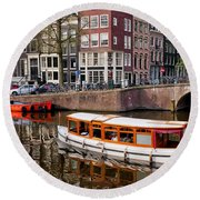 Amsterdam Canal And Houses Round Beach Towel