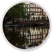 Amsterdam Canal Houses In The Rain Round Beach Towel