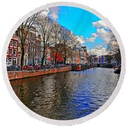Amsterdam Canal In Spring Round Beach Towel