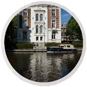 Amsterdam Canal Mansions - Bright White Symmetry  Round Beach Towel