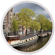 Amsterdam Canal Waterfront Round Beach Towel