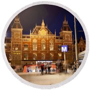 Amsterdam Central Station And Metro Entrance Round Beach Towel