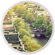 Amsterdam Holland Netherlands In Vintage Style Round Beach Towel