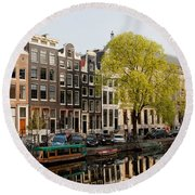 Amsterdam Houses Along The Singel Canal Round Beach Towel