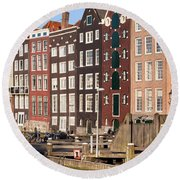 Amsterdam Houses Ar Sunset Round Beach Towel