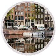 Amsterdam Houses By The Singel Canal Round Beach Towel