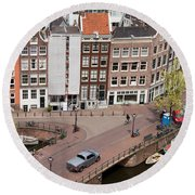 Amsterdam Houses From Above Round Beach Towel