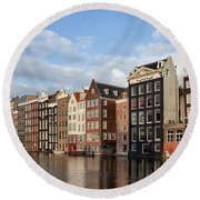 Amsterdam Old Town At Sunset Round Beach Towel