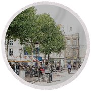 Amsterdam Streets 3 Round Beach Towel