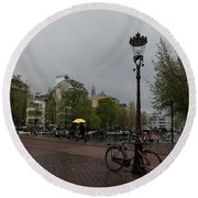 Amsterdam - The Yellow Umbrella Round Beach Towel