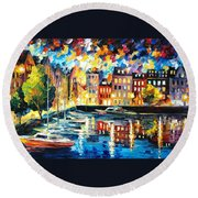 Amsterdam's Harbor - Palette Knife Oil Painting On Canvas By Leonid Afremov Round Beach Towel