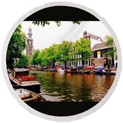 Amsterdams Westerkerk From The Canal  Round Beach Towel