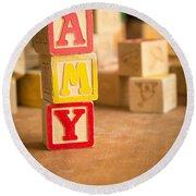 Amy - Alphabet Blocks Round Beach Towel