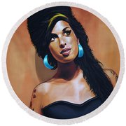 Amy Winehouse Round Beach Towel by Paul Meijering