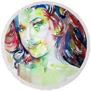 Amy Winehouse Watercolor Portrait.1 Round Beach Towel