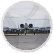 An A-10 Thunderbolt Taxis To The Runway Round Beach Towel