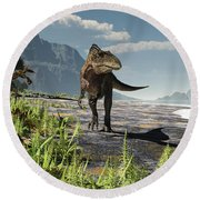 An Acrocanthosaurus Roams An Early Round Beach Towel by Arthur Dorety